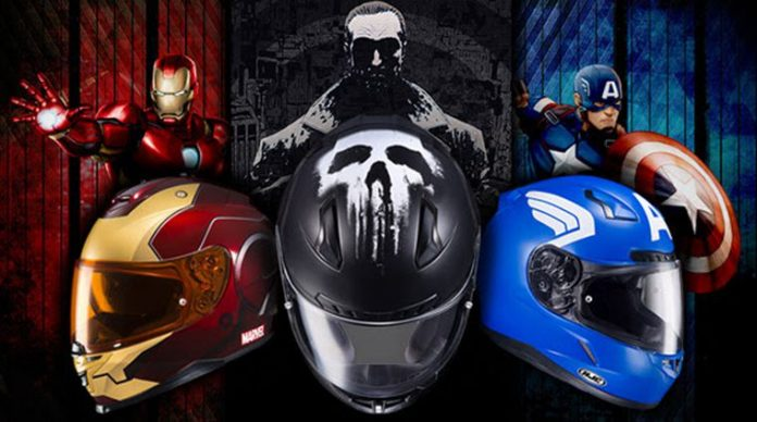 The image shows various cool motorcycle helmets